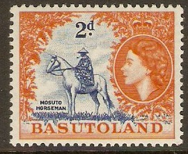 Basutoland 1954 2d Deep bright blue and orange. SG45.