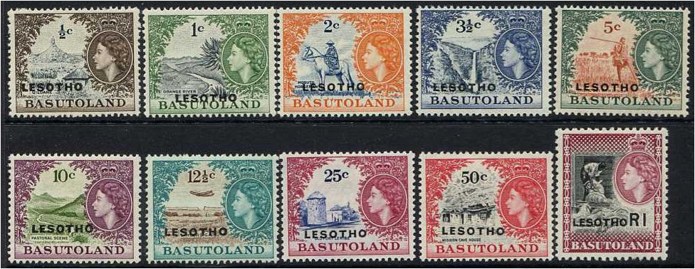 Lesotho 1966 Definitive Set A. SG110A-SG120A.