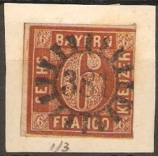 Bavaria 1849 6k Brown - Silk thread. SG7.