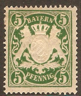 Bavaria 1888 5pf Deep green. SG108.