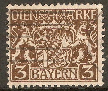 Bavaria 1916 3pf Brown - Official Stamp. SGO195.