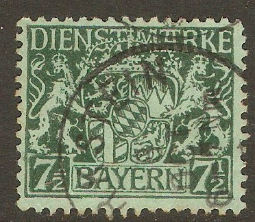 Bavaria 1916 7½pf Green on green - Official Stamp. SGO197.
