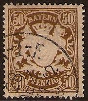 Bavaria 1876 50pf Brown. SG117.
