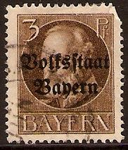 Bavaria 1919 3pf Brown Optd. Volksstaat Bayern. SG195A.
