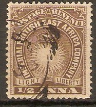 British East Africa 1890 ½a Dull brown. SG4.