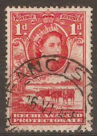 Bechuanaland 1955 1d Rose-red. SG144.