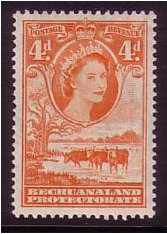 Bechuanaland 1955 4d. Red-Orange. SG146b.