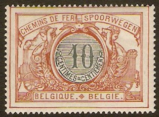 Belgium 1902 10c Slate and red brown. SGP109a.
