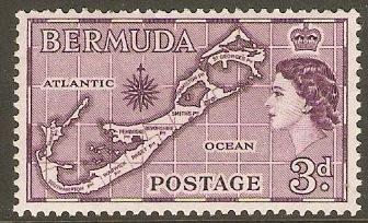 Bermuda 1953 3d Deep purple Die I. SG140