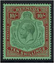 Bermuda 1924 10s. Green and Red on Pale Emerald. SG92.