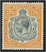 Bermuda 1924 12s.6d. Grey and Orange. SG93.