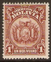 Bolivia 1923 1b Red-brown. SG163.