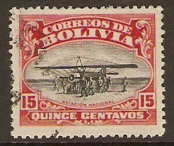 Bolivia 1924 15c Aviation School Series. SG171.