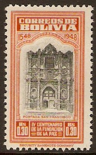 Bolivia 1951 30c La Paz Foundation Series. SG512.