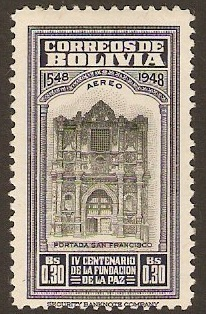 Bolivia 1951 30c La Paz Foundation Series. SG522.