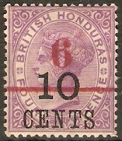 British Honduras 1891 6c on 10c on 4d Mauve. SG43.