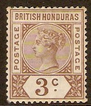 British Honduras 1891 3c Brown. SG53.