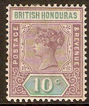 British Honduras 1891 10c Dull purple and green. SG58.
