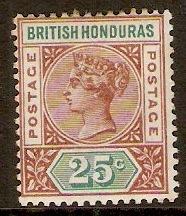 British Honduras 1891 25c Red-brown and green. SG61.