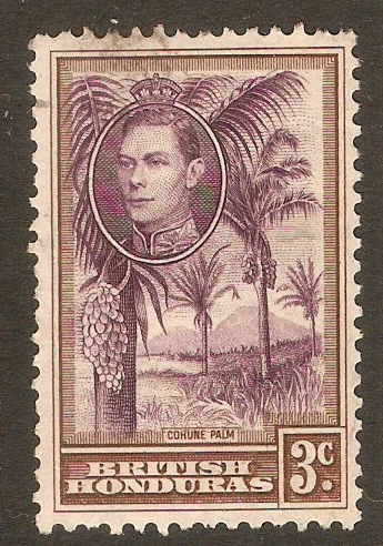 British Honduras 1938 3c. Purple and Brown. SG152.