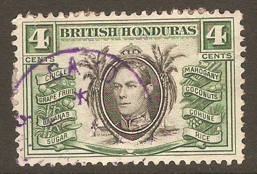 British Honduras 1938 4c Black and green. SG153.