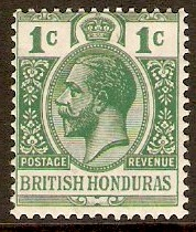 British Honduras 1913 1c Blue-green. SG101.