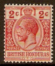 British Honduras 1913 2c Red. SG102.