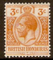 British Honduras 1913 3c. Orange. SG103.