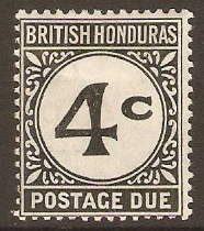 British Honduras 1923 4c Black Postage Due. SGD3.