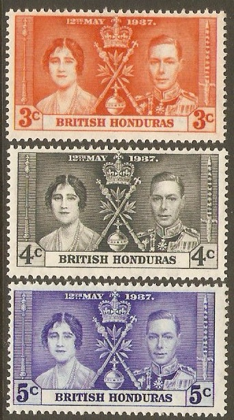 British Honduras 1937 Coronation set. SG147-SG149.