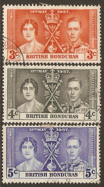 British Honduras 1937 Coronation Stamp Set. SG147-SG149.