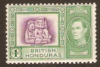 British Honduras 1938 1c Bright magenta and green. SG150.
