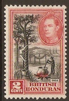 British Honduras 1938 2c Back and scarlet. SG151.