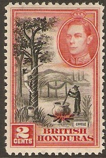 British Honduras 1938 2c Black and scarlet. SG151a.
