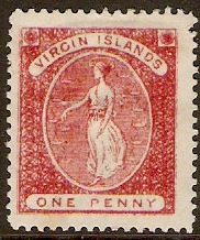 British Virgin Islands 1887 1d Rose-red. SG33.