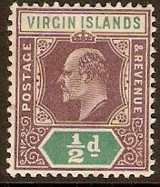 British Virgin Islands 1904 ½d Dull purple and green. SG54.