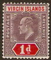 British Virgin Islands 1904 1d Dull purple and scarlet. SG55.