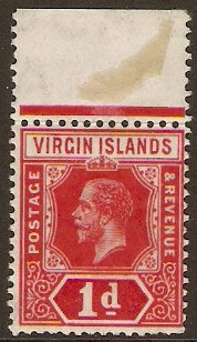 British Virgin Islands 1913 1d Deep red. SG70.
