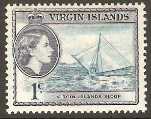 British Virgin Islands 1956 1c Turquoise-blue and slate. SG150.