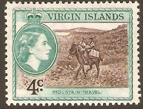 British Virgin Islands 1956 4c Deep brown and turq-green. SG153.