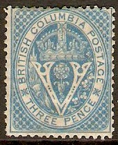 British Columbia 1865 3d pale blue. SG22.
