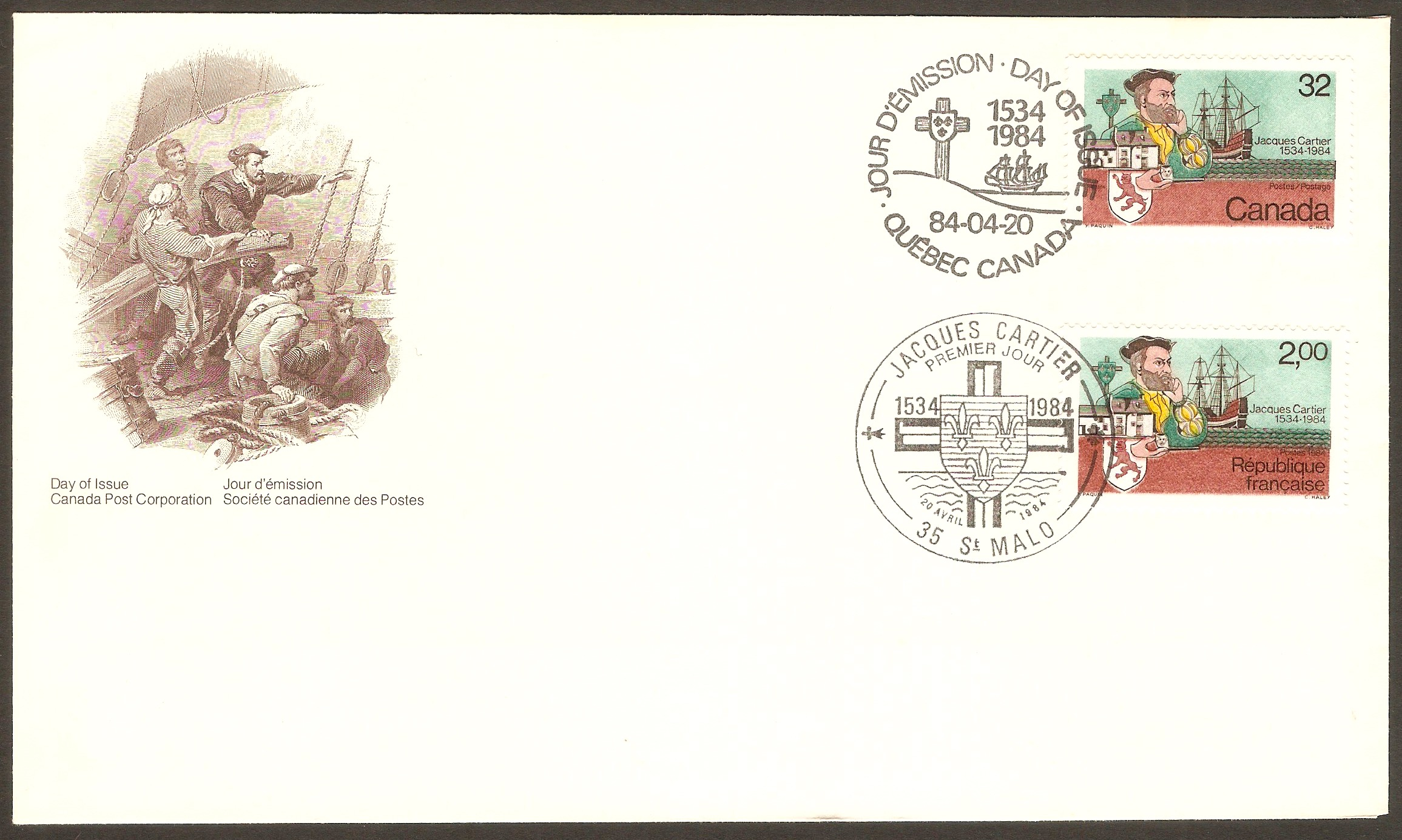 Canada 1984 Jacques Cartier Anniversary FDC.