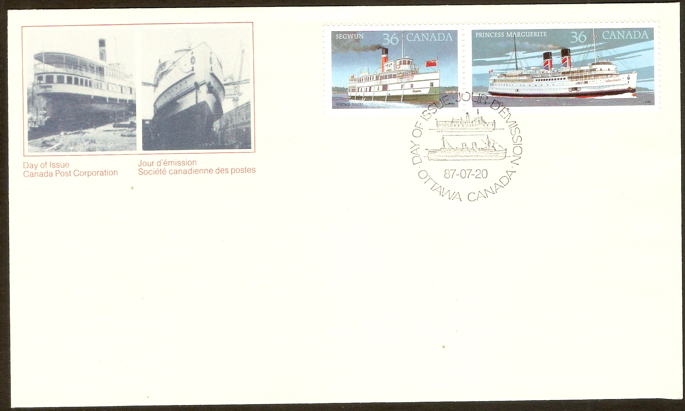 Canada 1987 Canadian Steamships FDC.