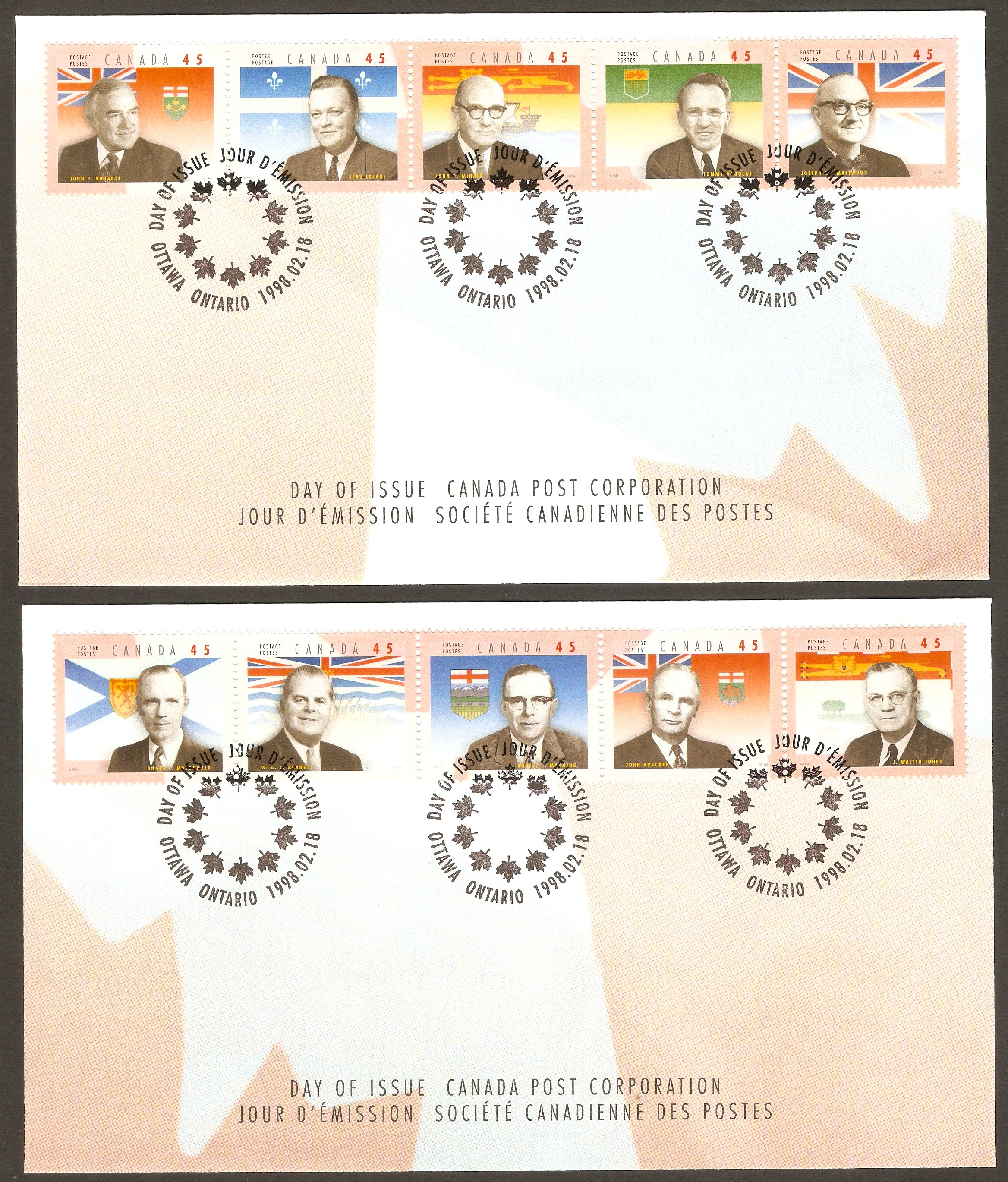 Canada 1998 Provincial Premiers FDC.