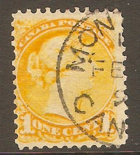 Canada 1870 1c Pale dull yellow. SG74.