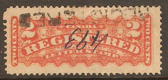 Canada 1875 2c Orange-red Registration Stamp. SGR2.