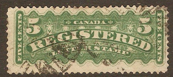 Canada 1875 5c Deep green Registration Stamp. SGR6.