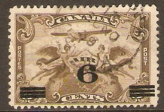 Canada 1932 6c on 5c Olive-brown Air Stamp. SG313.
