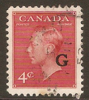 Canada 1950 4c Carmine-lake - Official stamp. SGO182.