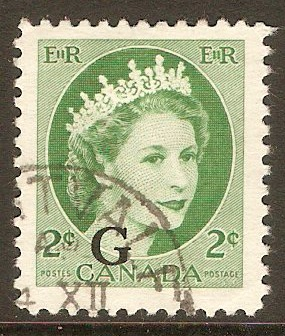 Canada 1955 2c Green - Official stamp. SGO203.